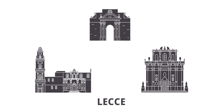Italy, Lecce flat travel skyline set. Italy, Lecce black city vector panorama, illustration, travel sights, landmarks, streets.