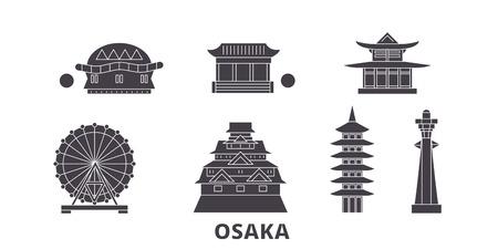 Japan, Osaka flat travel skyline set. Japan, Osaka black city vector panorama, illustration, travel sights, landmarks, streets.