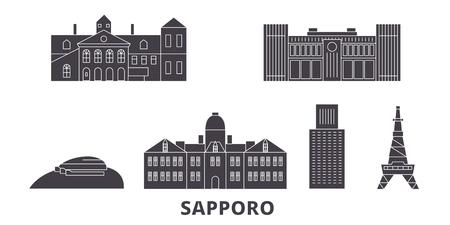 Japan, Sapporo flat travel skyline set. Japan, Sapporo black city vector panorama, illustration, travel sights, landmarks, streets.