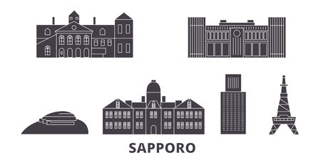 Japan, Sapporo flat travel skyline set. Japan, Sapporo black city vector panorama, illustration, travel sights, landmarks, streets. Illustration