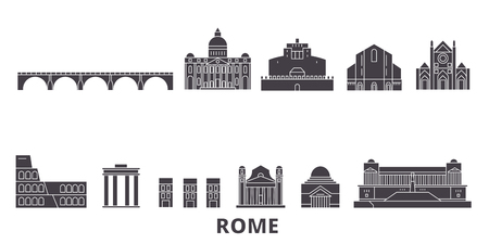 Italy, Rome flat travel skyline set. Italy, Rome black city vector panorama, illustration, travel sights, landmarks, streets. Stock Illustratie