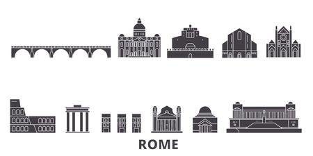 L'Italie, Rome ensemble d'horizon de voyage plat. Italie, panorama de vecteur de la ville noire de Rome, illustration, sites touristiques, monuments, rues.