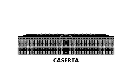 Italy, Caserta flat travel skyline set. Italy, Caserta black city vector panorama, illustration, travel sights, landmarks, streets. Illustration
