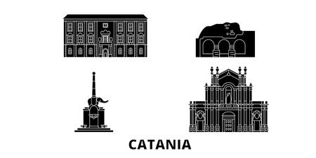 Italy, Catania flat travel skyline set. Italy, Catania black city vector panorama, illustration, travel sights, landmarks, streets.
