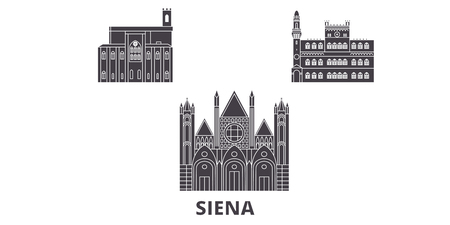Italy, Siena flat travel skyline set. Italy, Siena black city vector panorama, illustration, travel sights, landmarks, streets. Иллюстрация