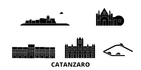 Italy, Catanzaro flat travel skyline set. Italy, Catanzaro black city vector panorama, illustration, travel sights, landmarks, streets.