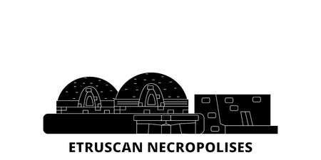 Italy, Cerveteri, Etruscan Necropolises flat travel skyline set. Italy, Cerveteri, Etruscan Necropolises black city vector panorama, illustration, travel sights, landmarks, streets. Stock Vector - 120692692