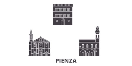Italy, Pienza  flat travel skyline set. Italy, Pienza  black city vector panorama, illustration, travel sights, landmarks, streets. Çizim