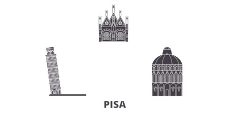 Italy, Pisa flat travel skyline set. Italy, Pisa black city vector panorama, illustration, travel sights, landmarks, streets.