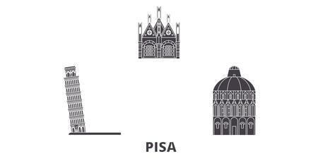 Italy, Pisa flat travel skyline set. Italy, Pisa black city vector panorama, illustration, travel sights, landmarks, streets.