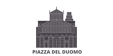 Italy, Pisa, Piazza Del Duomo flat travel skyline set. Italy, Pisa, Piazza Del Duomo black city vector panorama, illustration, travel sights, landmarks, streets. Иллюстрация