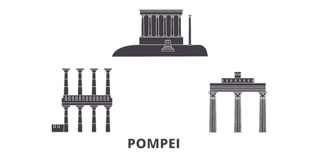 Italy, Pompei flat travel skyline set. Italy, Pompei black city vector panorama, illustration, travel sights, landmarks, streets. Illustration