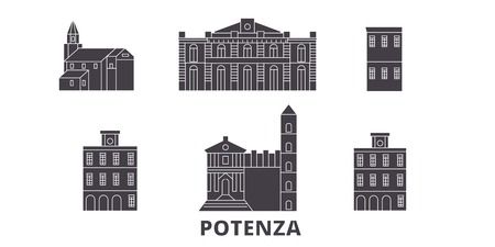 Italy, Potenza flat travel skyline set. Italy, Potenza black city vector panorama, illustration, travel sights, landmarks, streets.