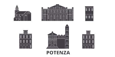 Italy, Potenza flat travel skyline set. Italy, Potenza black city vector panorama, illustration, travel sights, landmarks, streets.