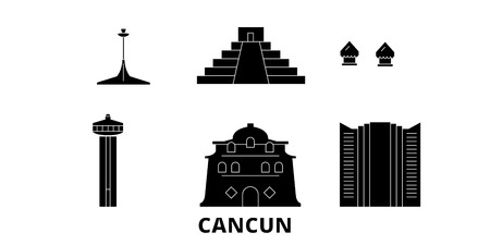 Mexico, Cancun flat travel skyline set. Mexico, Cancun black city vector panorama, illustration, travel sights, landmarks, streets.