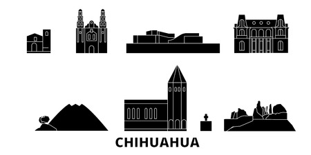 Mexico, Chihuahua flat travel skyline set. Mexico, Chihuahua black city vector panorama, illustration, travel sights, landmarks, streets.