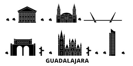 Mexico, Guadalajara flat travel skyline set. Mexico, Guadalajara black city vector panorama, illustration, travel sights, landmarks, streets.