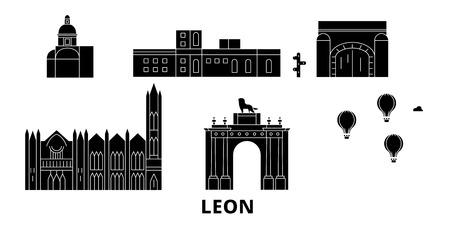 Mexico, Leon flat travel skyline set. Mexico, Leon black city vector panorama, illustration, travel sights, landmarks, streets. 向量圖像