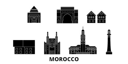 Morocco flat travel skyline set. Morocco black city vector panorama, illustration, travel sights, landmarks, streets.