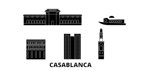 Morocco, Casablanca flat travel skyline set. Morocco, Casablanca black city vector panorama, illustration, travel sights, landmarks, streets. Illustration