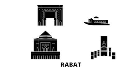 Morocco, Rabat flat travel skyline set. Morocco, Rabat black city vector panorama, illustration, travel sights, landmarks, streets. Standard-Bild - 120692722