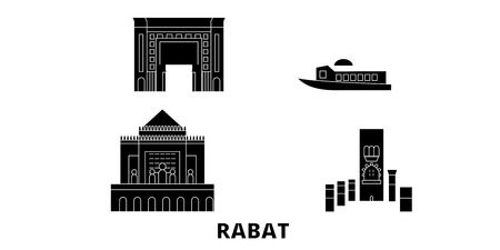 Morocco, Rabat flat travel skyline set. Morocco, Rabat black city vector panorama, illustration, travel sights, landmarks, streets.