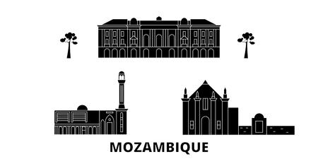Mozambique flat travel skyline set. Mozambique black city vector panorama, illustration, travel sights, landmarks, streets.