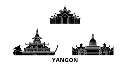 Myanmar, Yangon flat travel skyline set. Myanmar, Yangon black city vector panorama, illustration, travel sights, landmarks, streets.