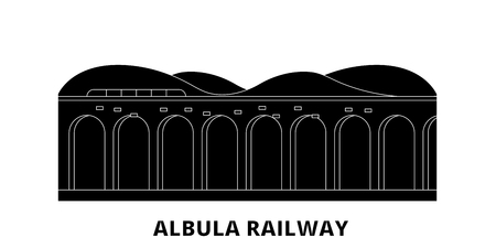 Italy, Albula Railway flat travel skyline set. Italy, Albula Railway black city vector panorama, illustration, travel sights, landmarks, streets. Illustration