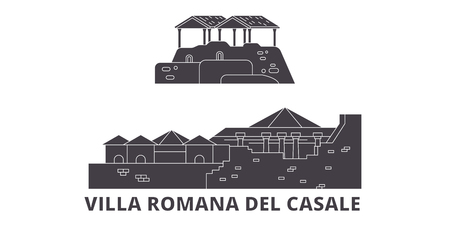 Italy, Villa Romana Del Casale  flat travel skyline set. Italy, Villa Romana Del Casale  black city vector panorama, illustration, travel sights, landmarks, streets.