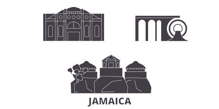 Jamaica flat travel skyline set. Jamaica black city vector panorama, illustration, travel sights, landmarks, streets.