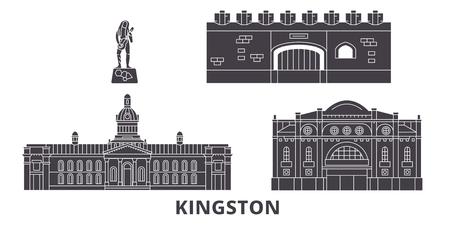 Jamaica, Kingston flat travel skyline set. Jamaica, Kingston black city vector panorama, illustration, travel sights, landmarks, streets.