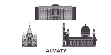 Kazakhstan, Almaty flat travel skyline set. Kazakhstan, Almaty black city vector panorama, illustration, travel sights, landmarks, streets.