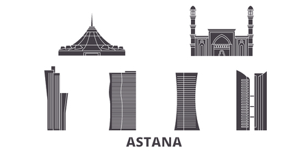 Kazakhstan, Astana flat travel skyline set. Kazakhstan, Astana black city vector panorama, illustration, travel sights, landmarks, streets.