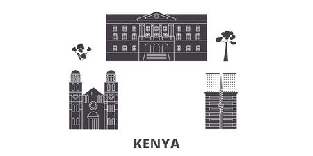 Kenya flat travel skyline set. Kenya black city vector panorama, illustration, travel sights, landmarks, streets.