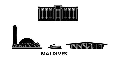 Maldives flat travel skyline set. Maldives black city vector panorama, illustration, travel sights, landmarks, streets.