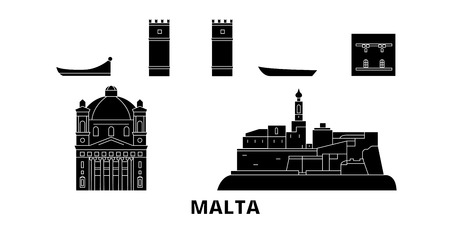 Malta flat travel skyline set. Malta black city vector panorama, illustration, travel sights, landmarks, streets.