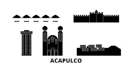 Mexico, Acapulco flat travel skyline set. Mexico, Acapulco black city vector panorama, illustration, travel sights, landmarks, streets.