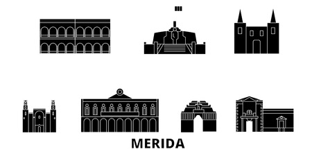 Mexico, Merida flat travel skyline set. Mexico, Merida black city vector panorama, illustration, travel sights, landmarks, streets. Illustration
