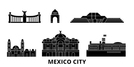 Mexico, Mexico flat travel skyline set. Mexico, Mexico black city vector panorama, illustration, travel sights, landmarks, streets.