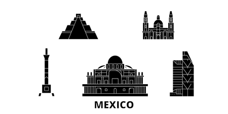 Mexico, Mexico City flat travel skyline set. Mexico, Mexico City black city vector panorama, illustration, travel sights, landmarks, streets.
