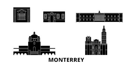 Mexico, Monterrey flat travel skyline set. Mexico, Monterrey black city vector panorama, illustration, travel sights, landmarks, streets.