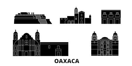 Mexico, Oaxaca flat travel skyline set. Mexico, Oaxaca black city vector panorama, illustration, travel sights, landmarks, streets. Ilustração