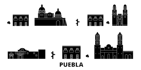 Mexico, Puebla flat travel skyline set. Mexico, Puebla black city vector panorama, illustration, travel sights, landmarks, streets. Illustration