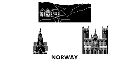 Norway flat travel skyline set. Norway black city vector panorama, illustration, travel sights, landmarks, streets. Фото со стока - 120692767
