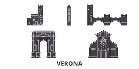 Italy, Verona City flat travel skyline set. Italy, Verona City black city vector panorama, illustration, travel sights, landmarks, streets.