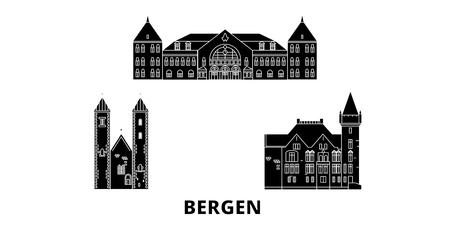 Norwegen, Bergen flache Reise-Skyline-Set. Norwegen, Bergen schwarzes Stadtvektorpanorama, Illustration, Reiseanblicke, Sehenswürdigkeiten, Straßen.
