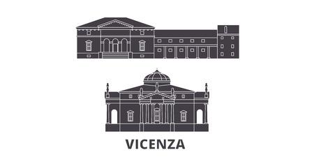 Italia, Vicenza plano horizonte de viaje. Italia, panorama de vector de la ciudad negra de Vicenza, ilustración, lugares turísticos, monumentos, calles. Ilustración de vector