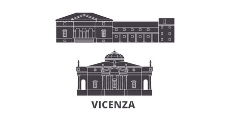 Italy, Vicenza flat travel skyline set. Italy, Vicenza black city vector panorama, illustration, travel sights, landmarks, streets. Illustration