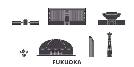 Japan, Fukuoka flat travel skyline set. Japan, Fukuoka black city vector panorama, illustration, travel sights, landmarks, streets.